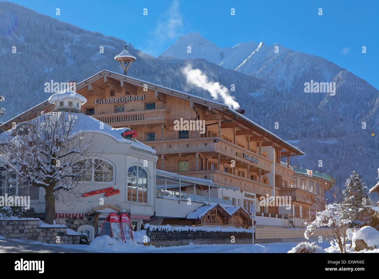 Hotel in winter in Mayrhofen, Tyrol, Austria - Stock Image