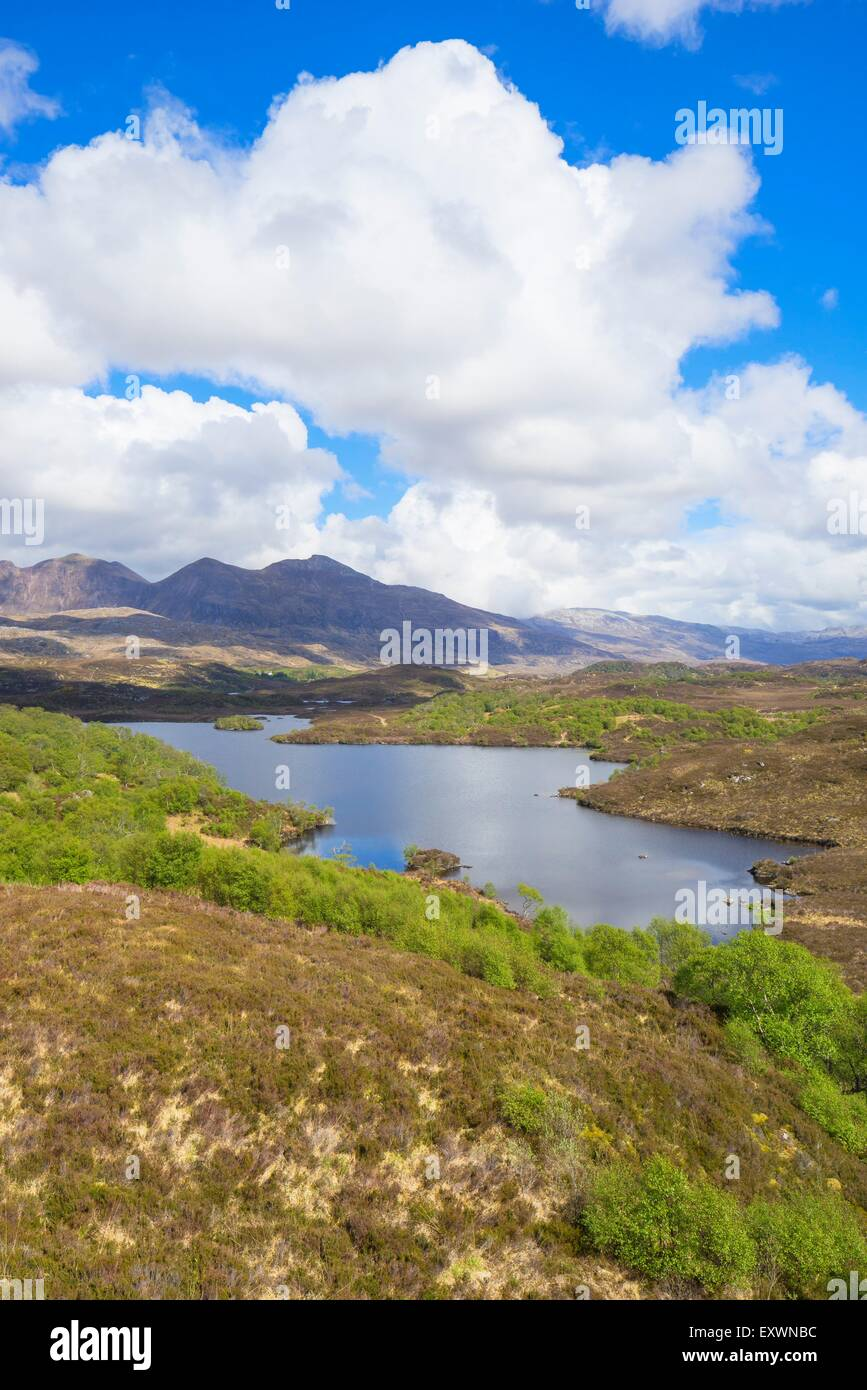 Loch an t-Sabhail circuit, Loch na h-Innse Fraoich and Mount Quinag, Scotland, Great Britain, Europe - Stock Image