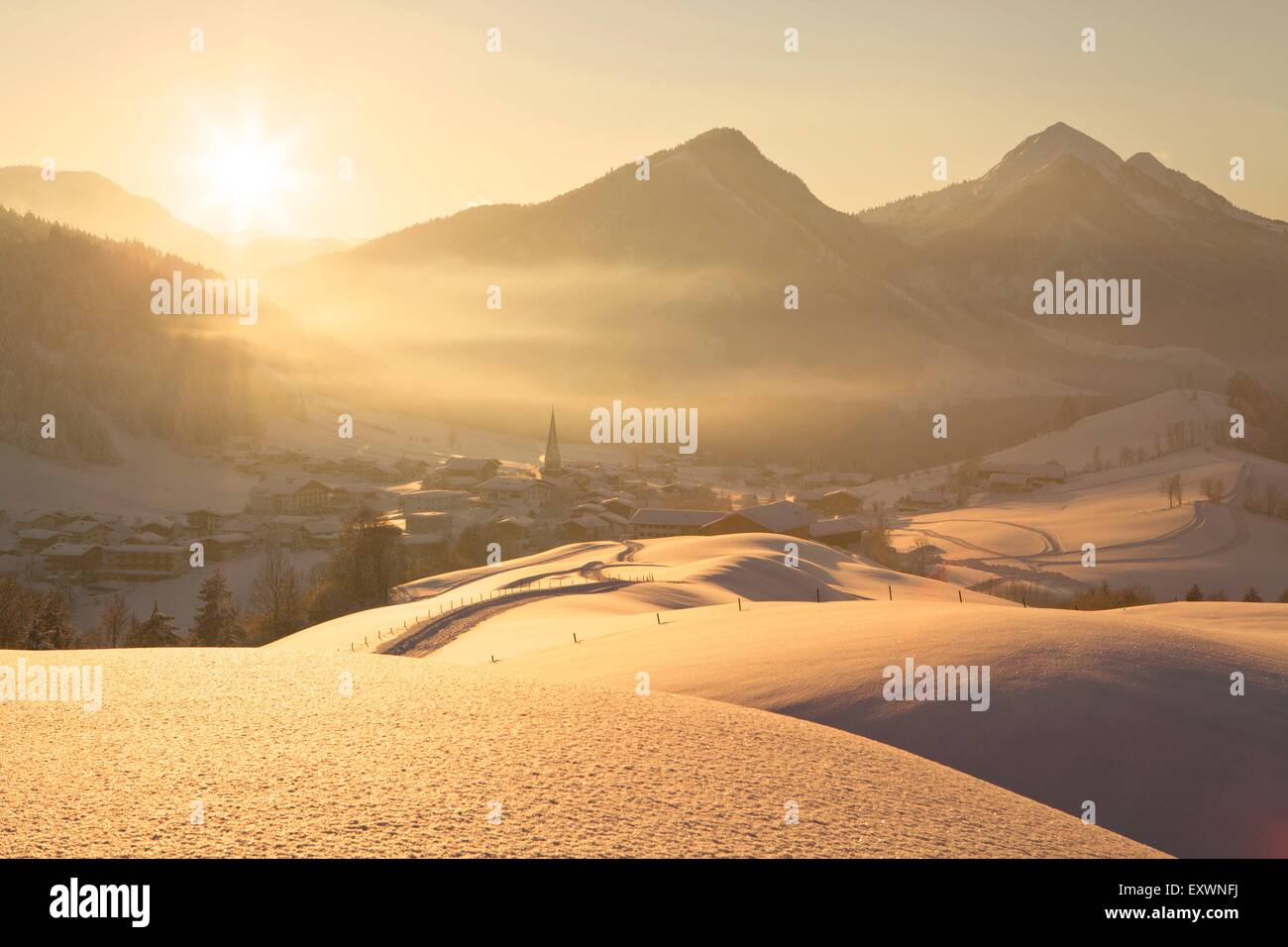 Hinterthiersee im Winter, Tirol, Österreich - Stock Image