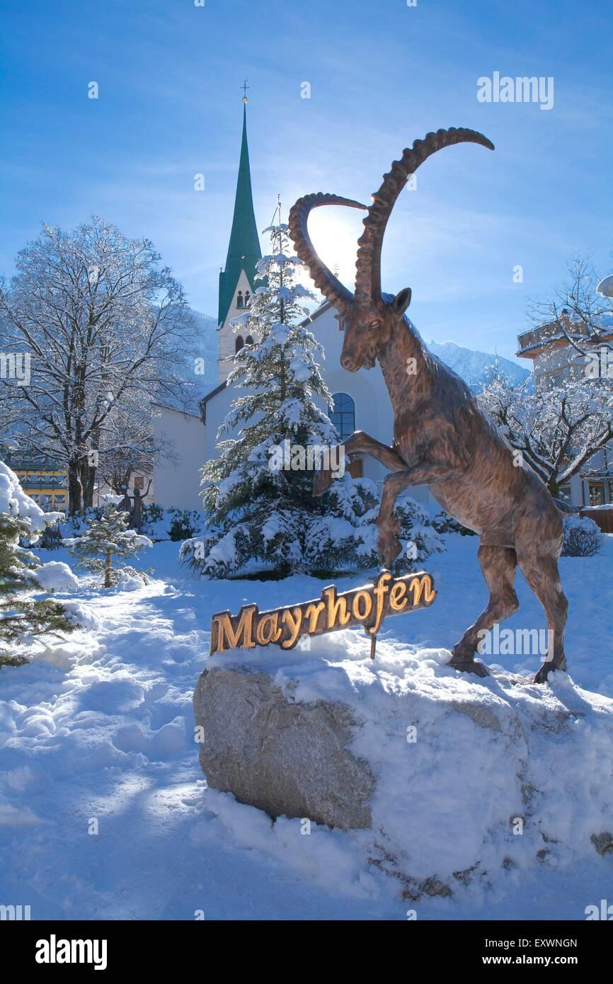 Ibex sculpture in Mayrhofen, Tyrol, Austria - Stock Image