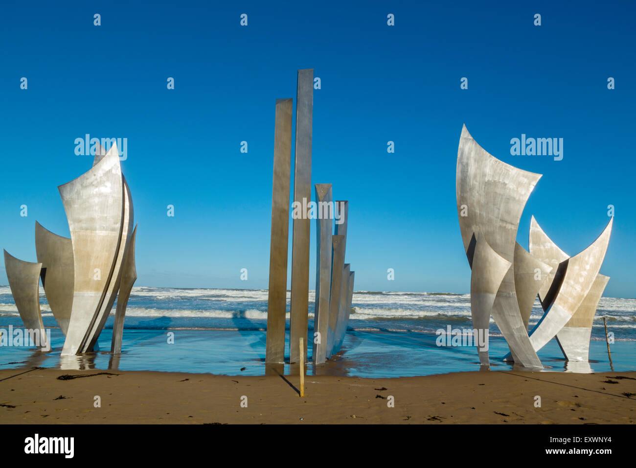 Omaha Beach, Memorial, Les Braves,Collevilles Sur Mer, Normandy, France - Stock Image
