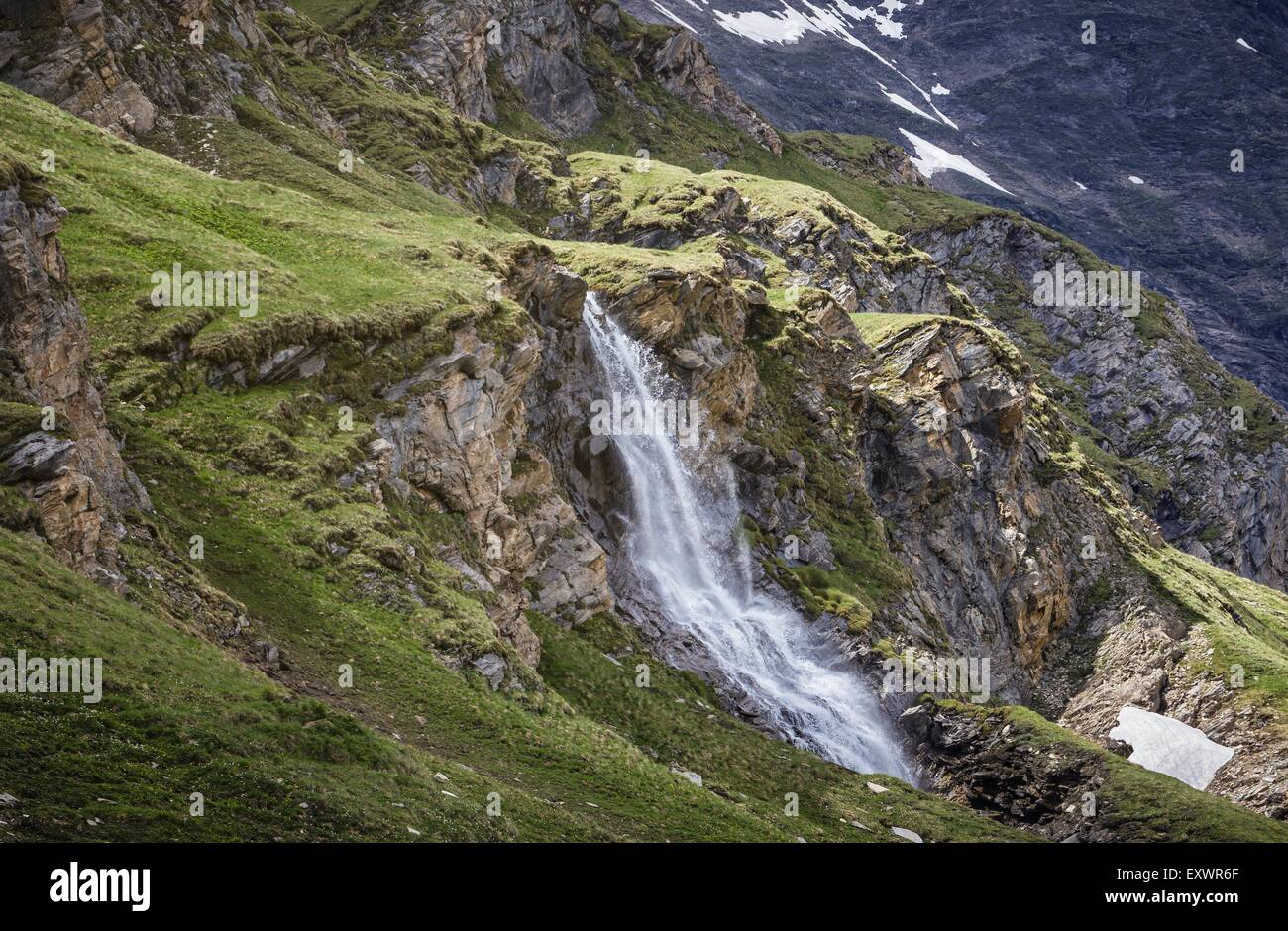 Waterfall, Hohe Tauern Nationalpark, Großglockner High Alpine Road, Austria, Europe - Stock Image