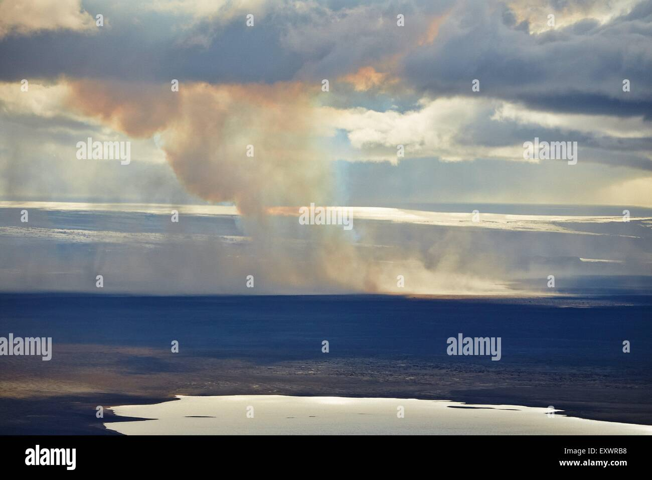 Volcano Bardarbunga, sand storm at lava field Holuhraun at Sept 2nd 2014, Iceland - Stock Image