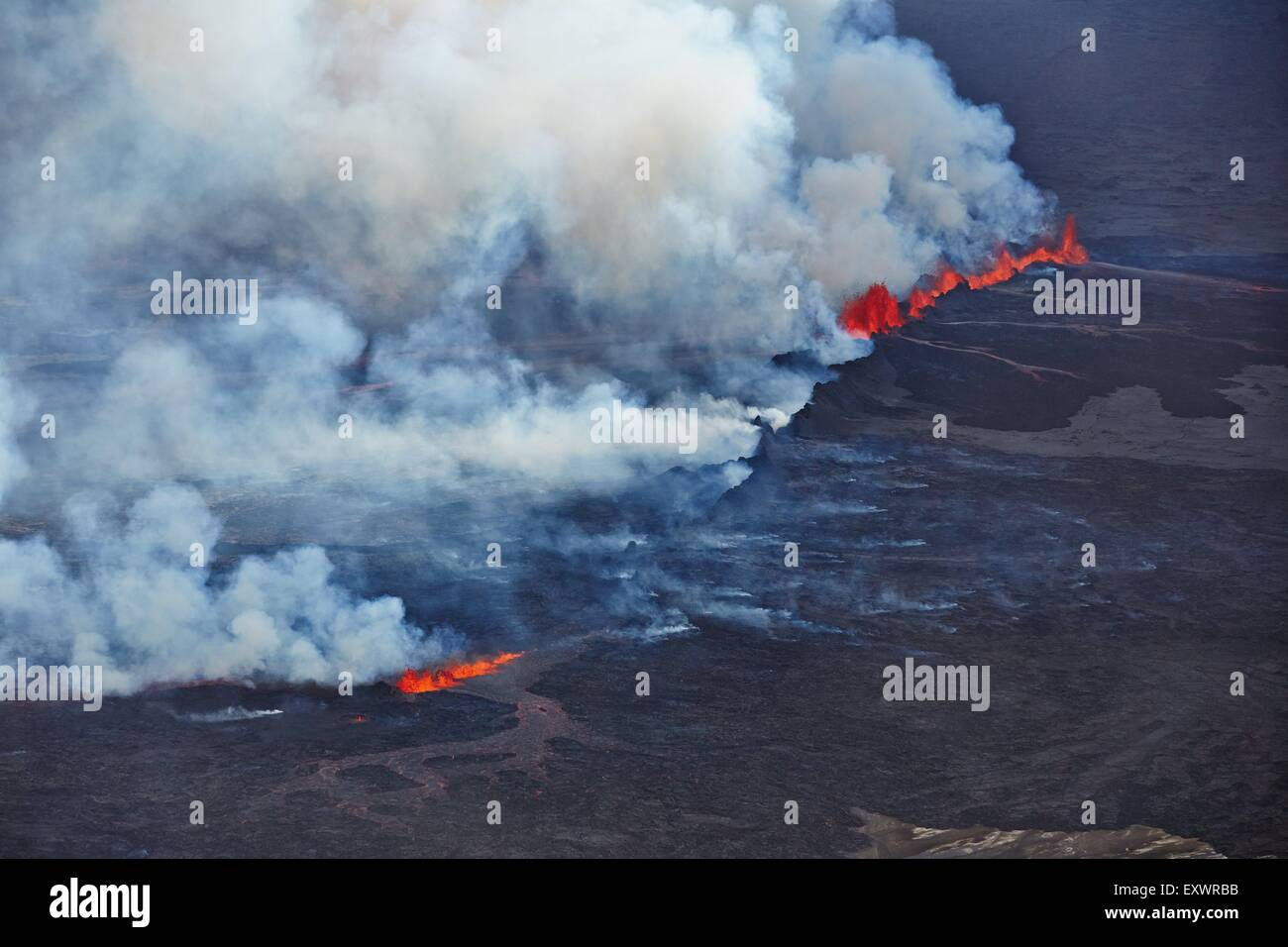 Volcano Bardarbunga, view on eruption at lava field Holuhraun at Sept 2nd 2014, Iceland - Stock Image