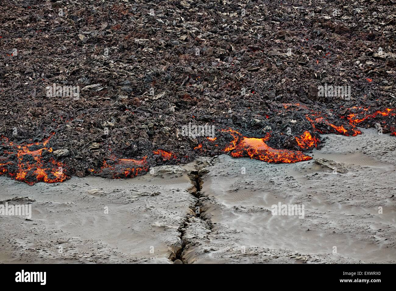Volcano Bardarbunga, crack in ground at lava field Holuhraun at Sept 2nd 2014, Iceland - Stock Image