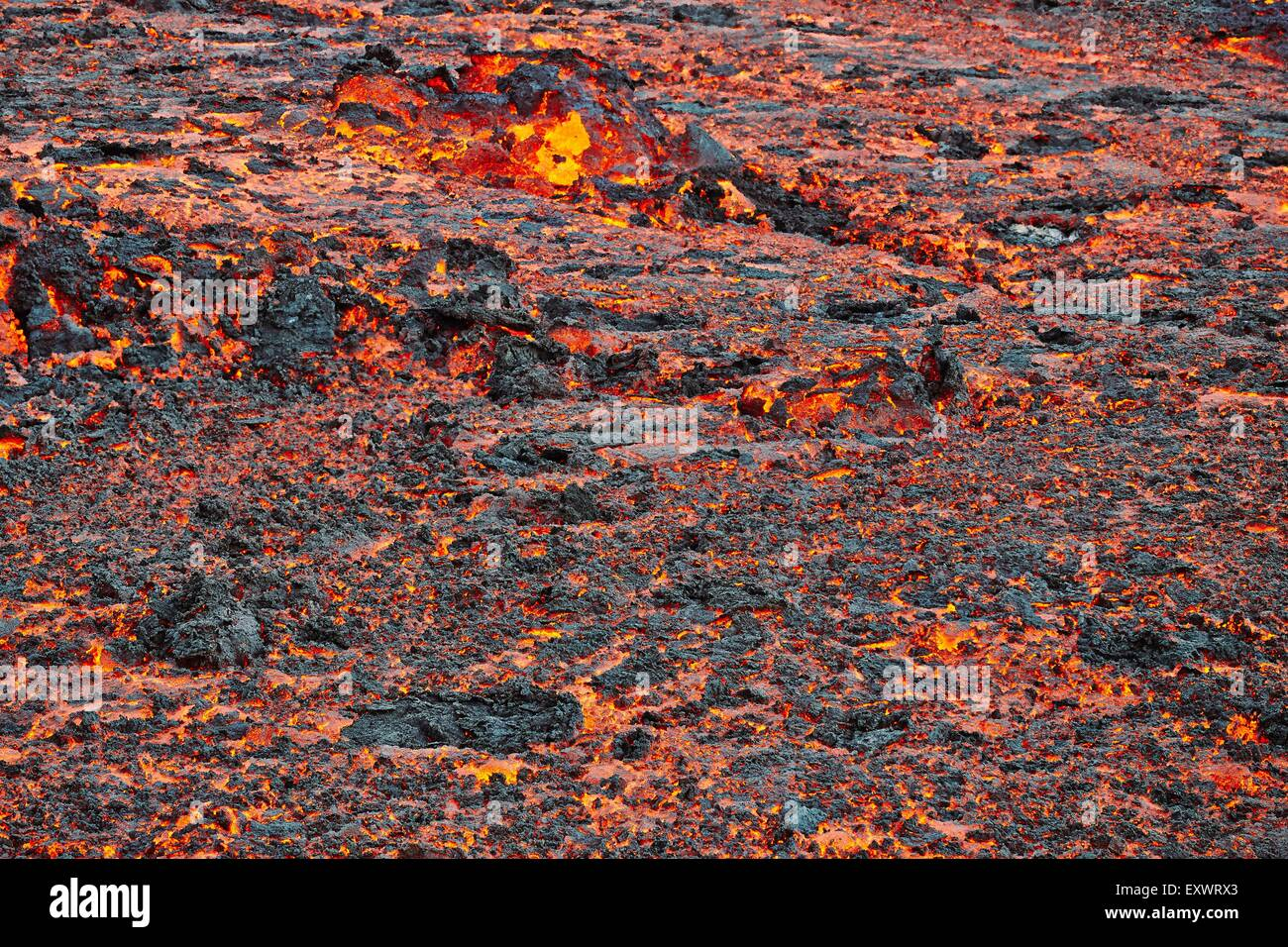 Volcano Bardarbunga, glowing lava at lava field Holuhraun at Sept 2nd 2014, Iceland - Stock Image