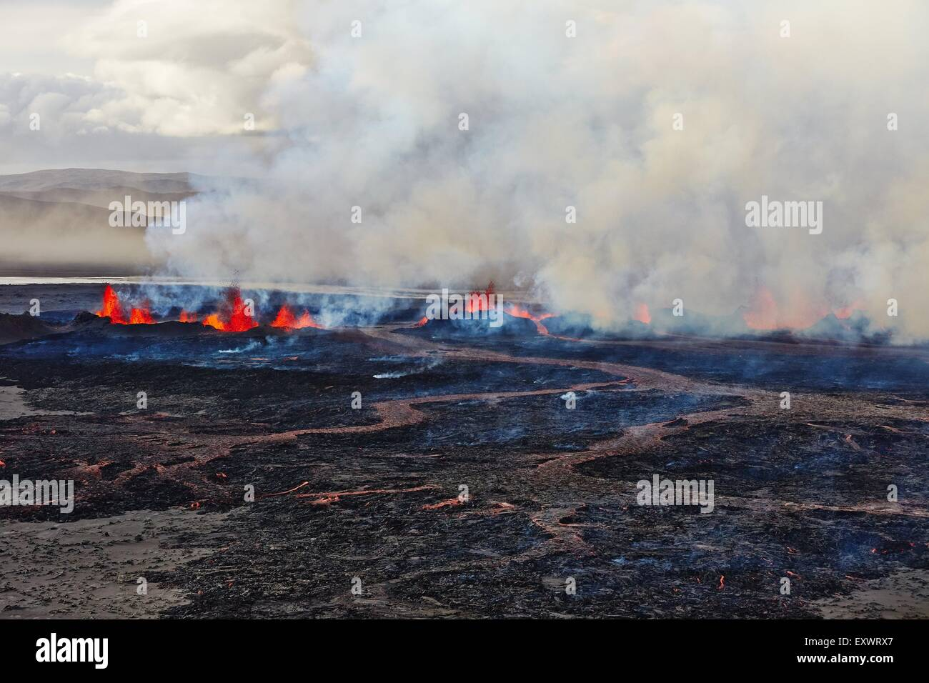 Volcano Bardarbunga, view on eruption at lava field Holuhraun at Sept 2nd 2014, Iceland Stock Photo