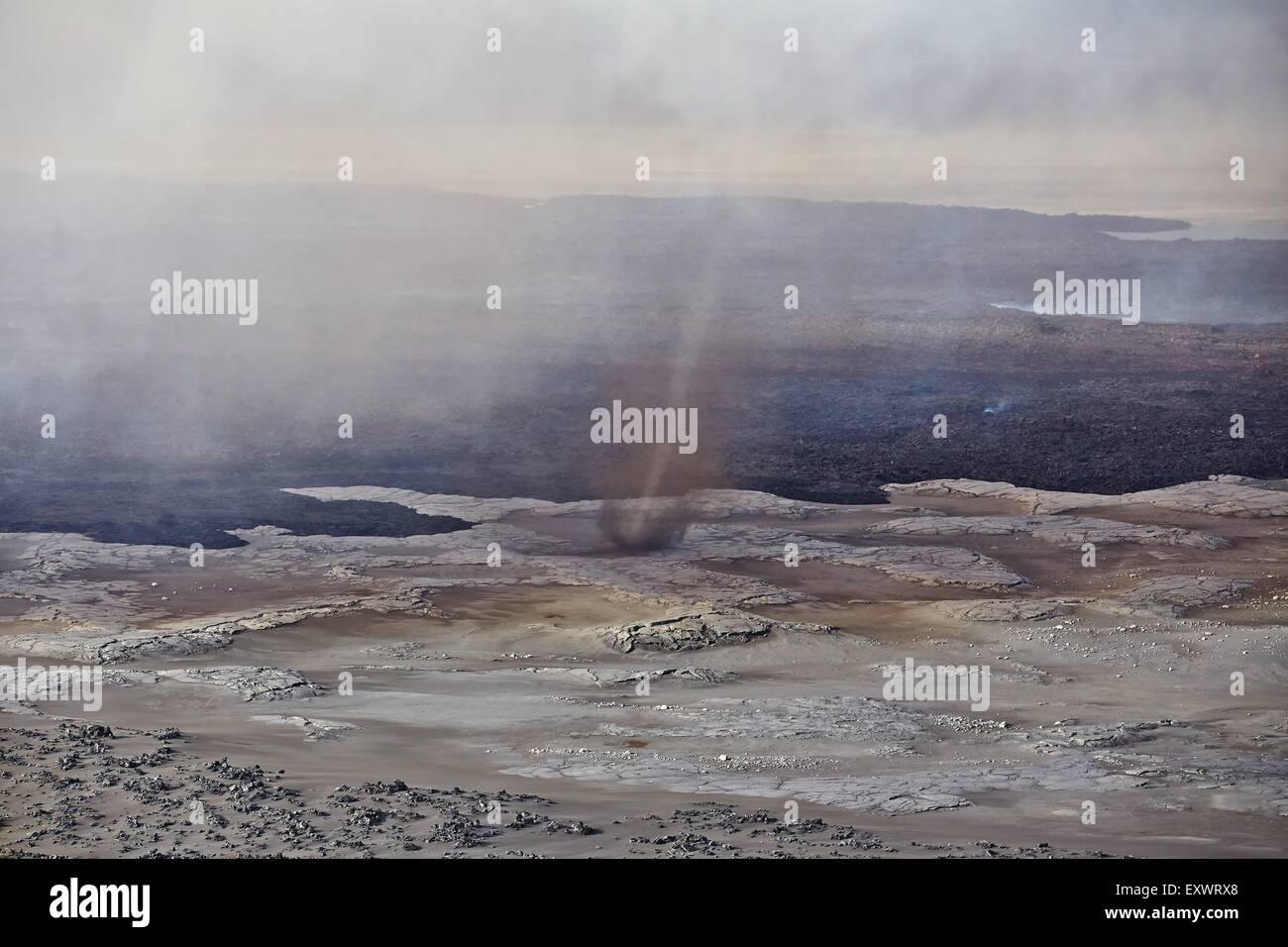 Volcano Bardarbunga, sand storm at lava field Holuhraun at Sept 2nd 2014, Iceland - Stock Image