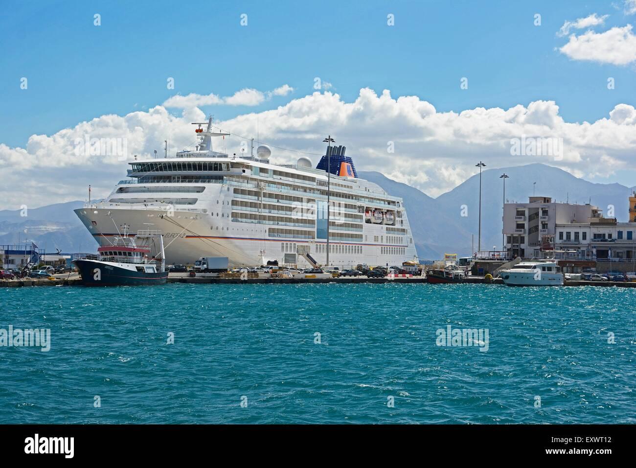 Cruise ship Europa 2 in harbour, Agios Nikolaos, Crete, Greece, Europe - Stock Image