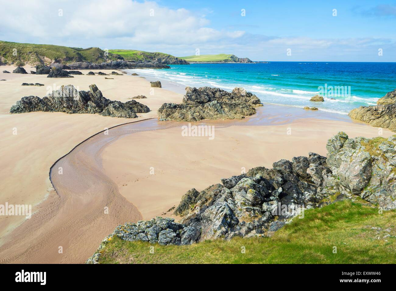 Beach of Sango Bay im Northern Scotland - Stock Image