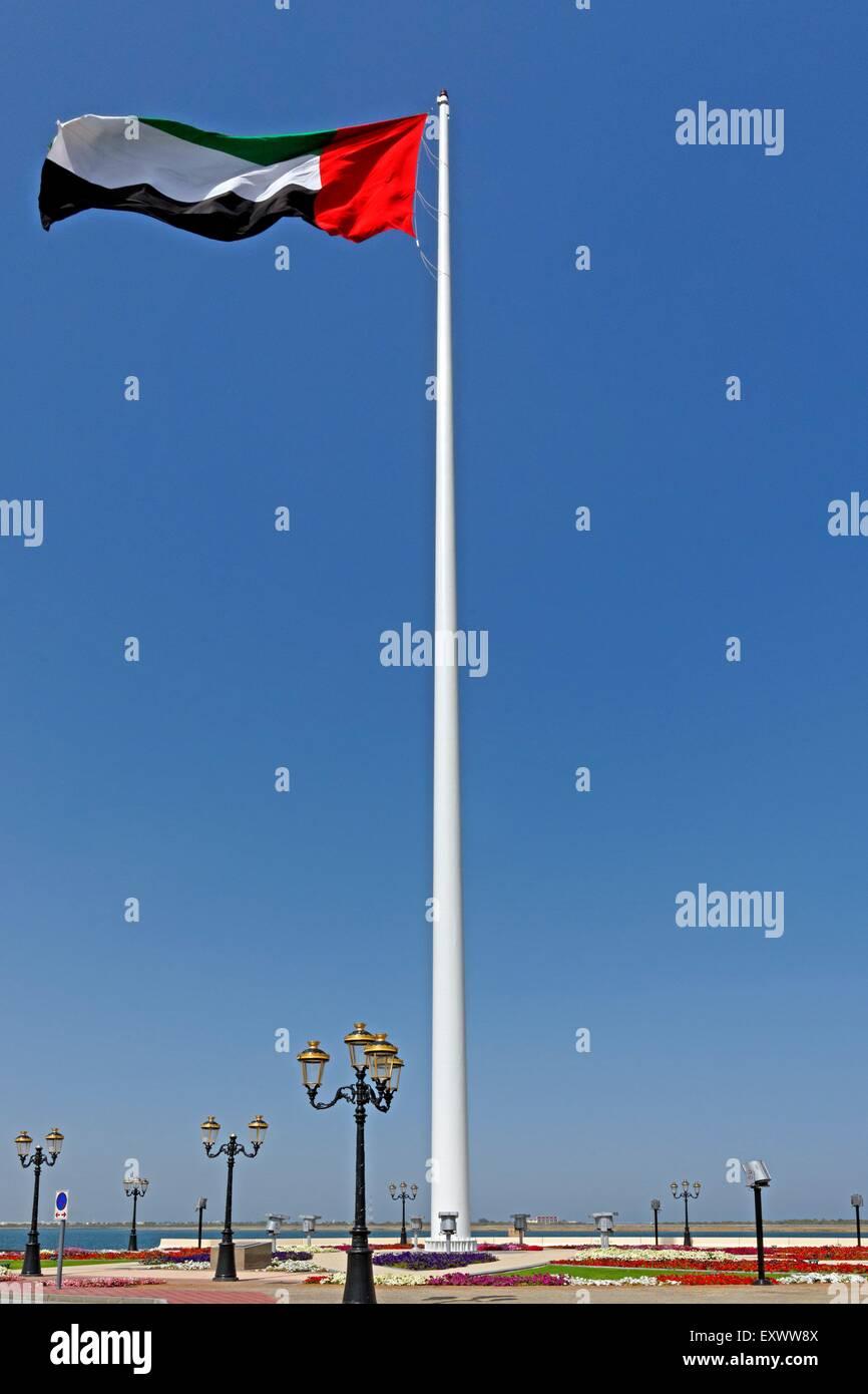Flagpole, Khor Kalba, Sharjah, United Arab Emirates - Stock Image