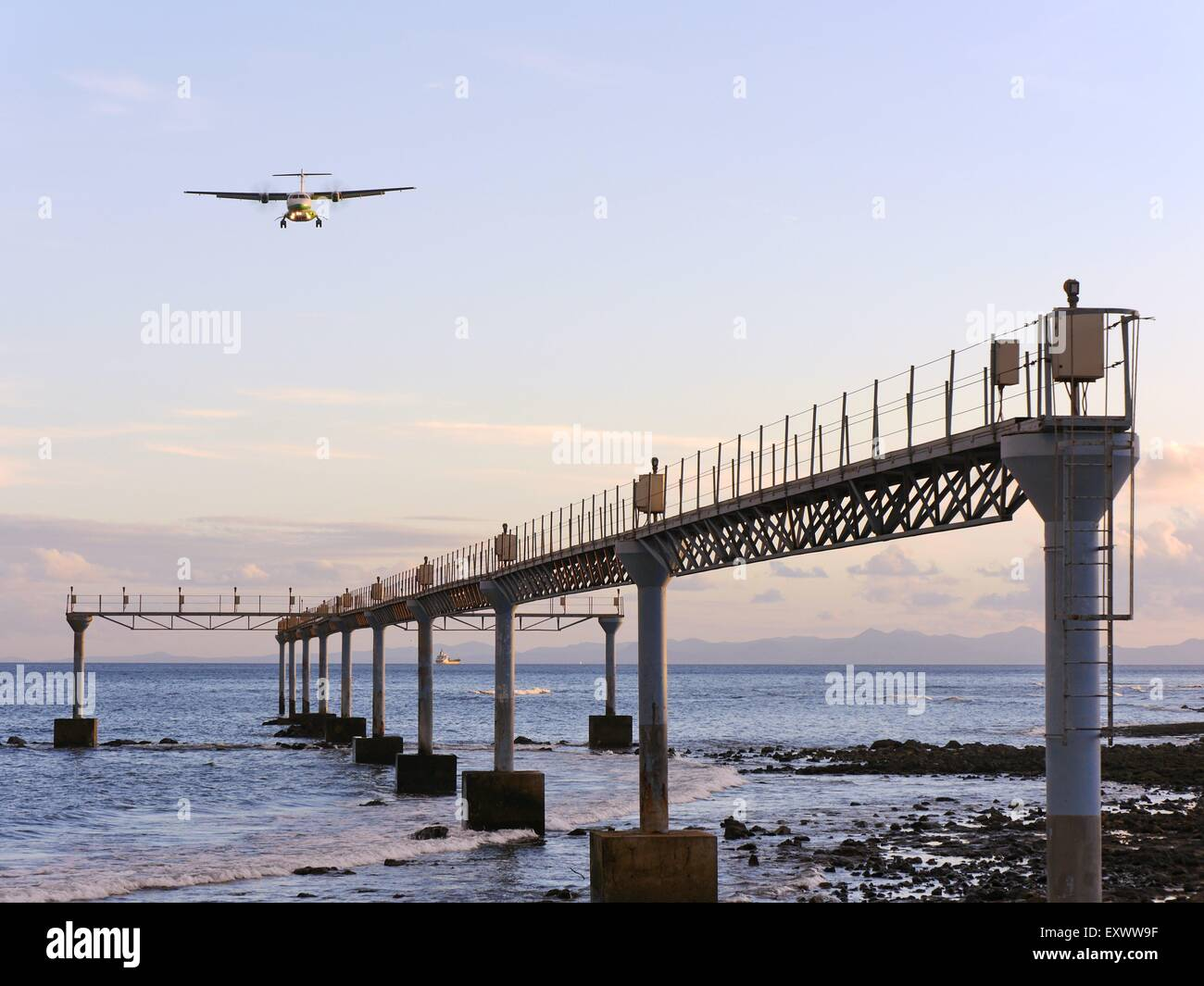 Propeller plane approach for a landing, Arrecife, Lanzarote, Canaries, Spain, Europe - Stock Image