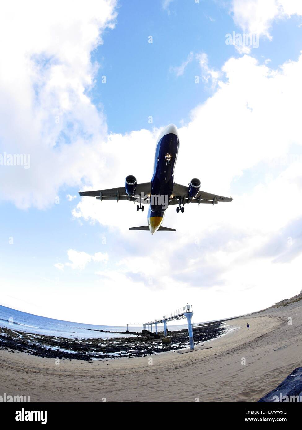 Aeroplane approach for a landing, Arrecife, Lanzarote, Canaries, Spain, Europe - Stock Image