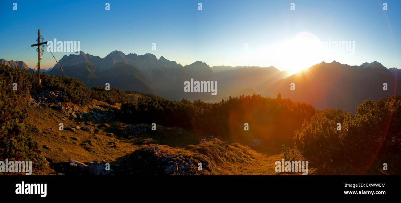 Sunset at Simmering, Mieming Mountains, Tyrol, Austria, Europe - Stock Image