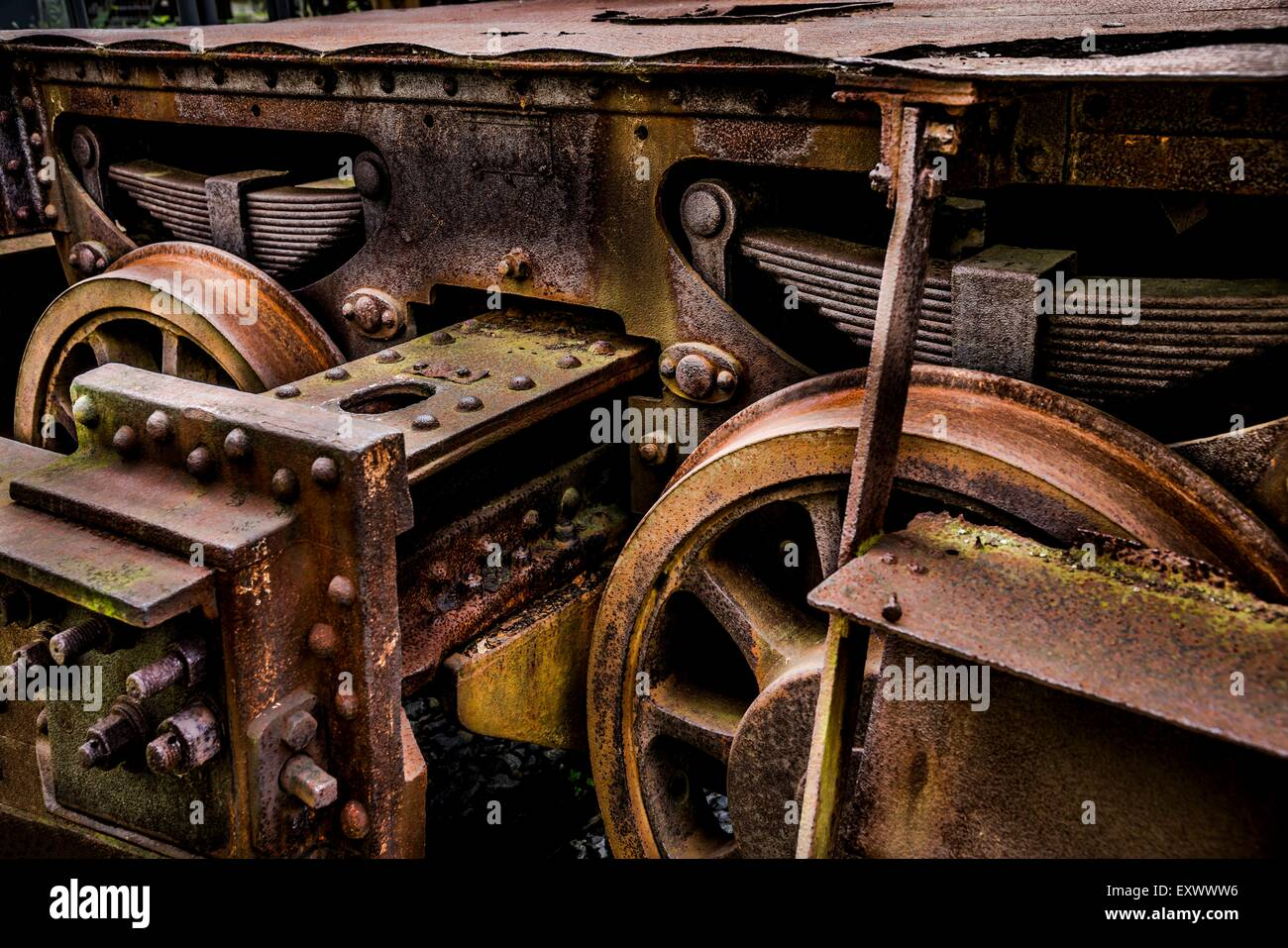 Wheels of a rail carriage - Stock Image