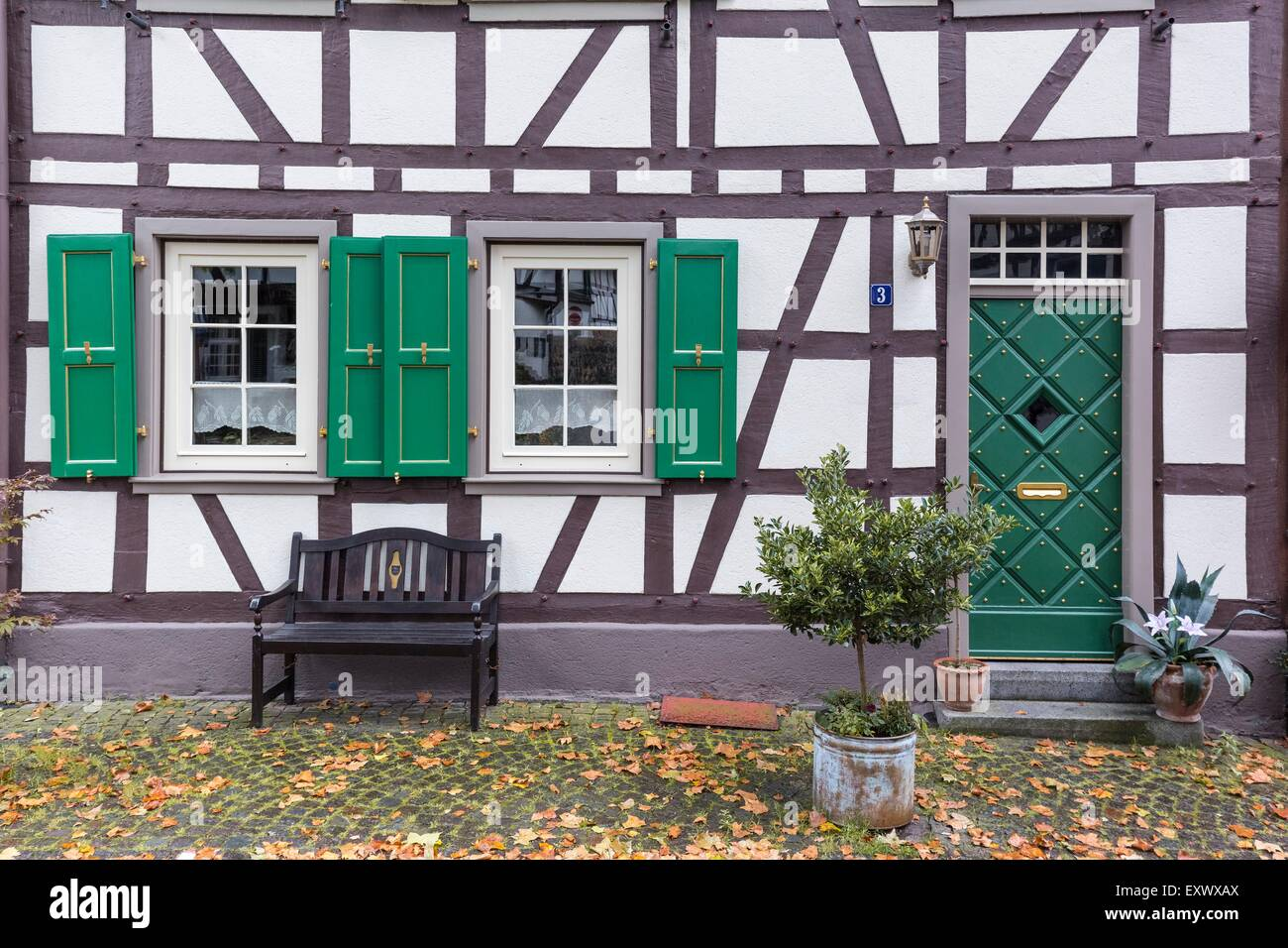 Timber-framed house, Erpel, Rhineland-Palatinate, Germany, Europe - Stock Image