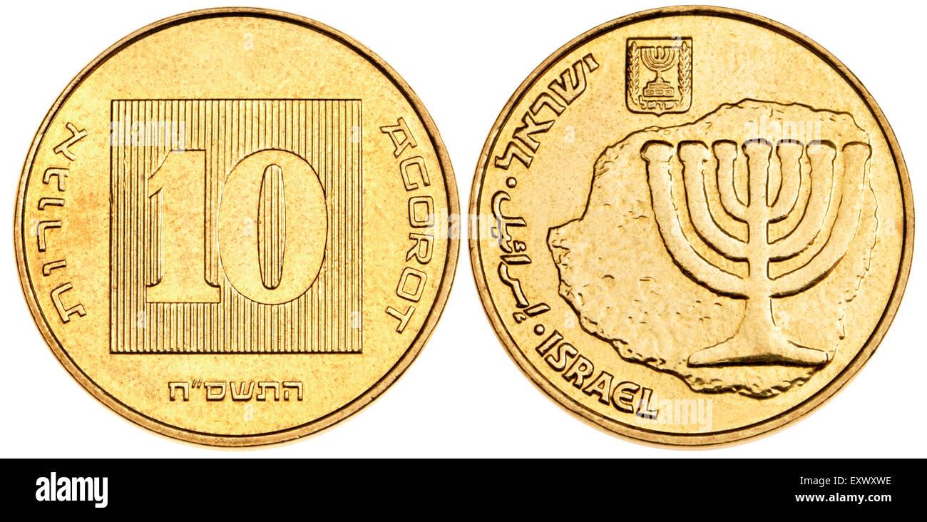 Israel 10 Agorot coin showing a Menorah / Jewish candlestick - Stock Image