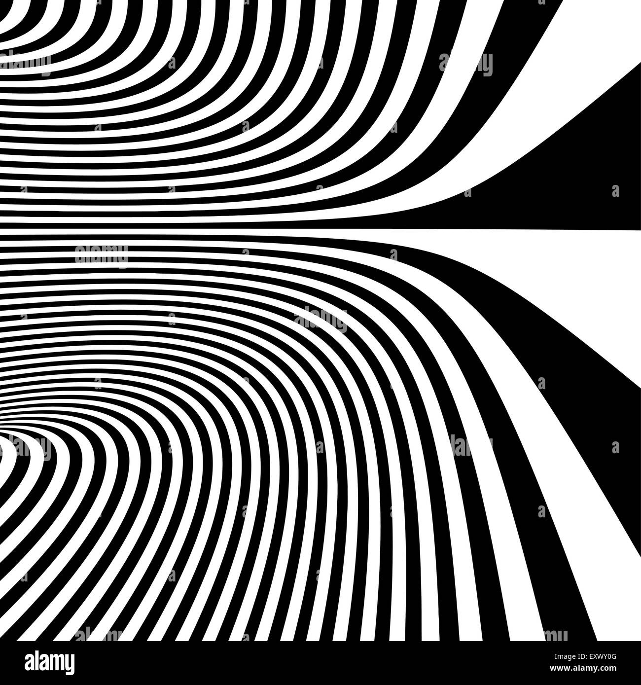Pattern with optical illusion. Black and white background. Vector illustration. - Stock Image