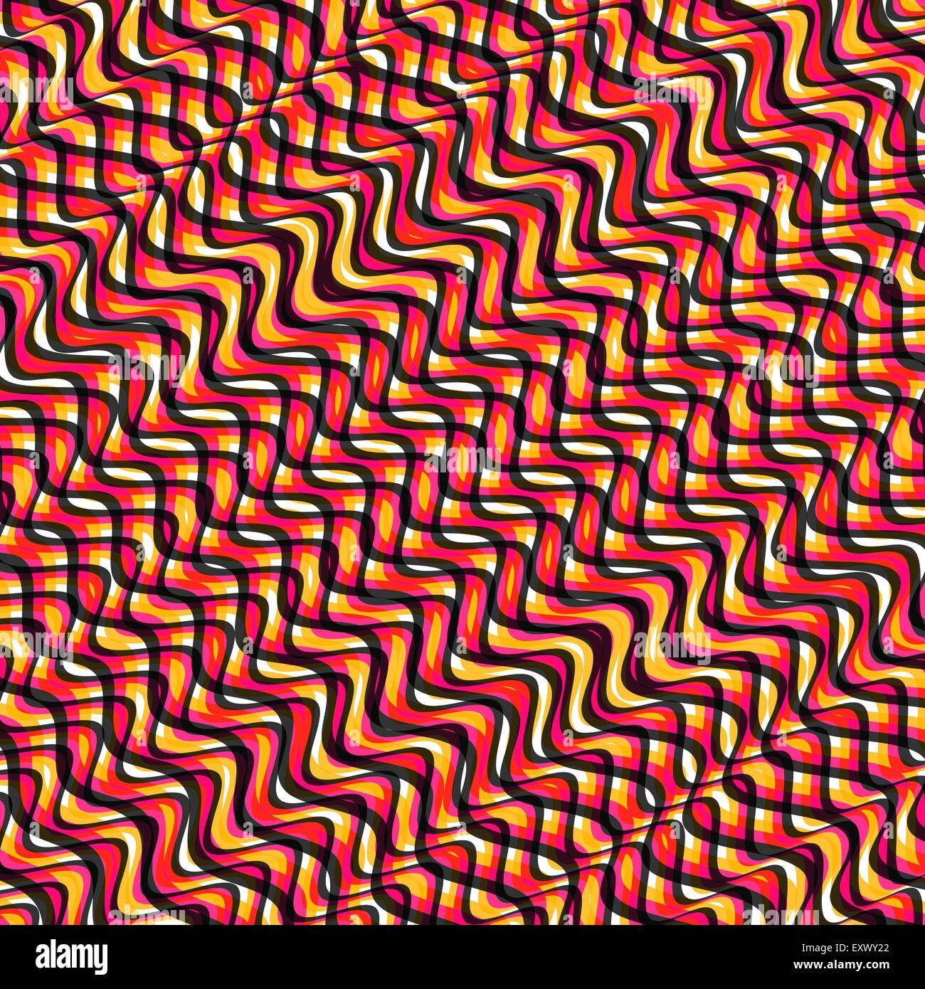 Wavy volume background. Pattern with optical illusion. 3d vector illustration. - Stock Image