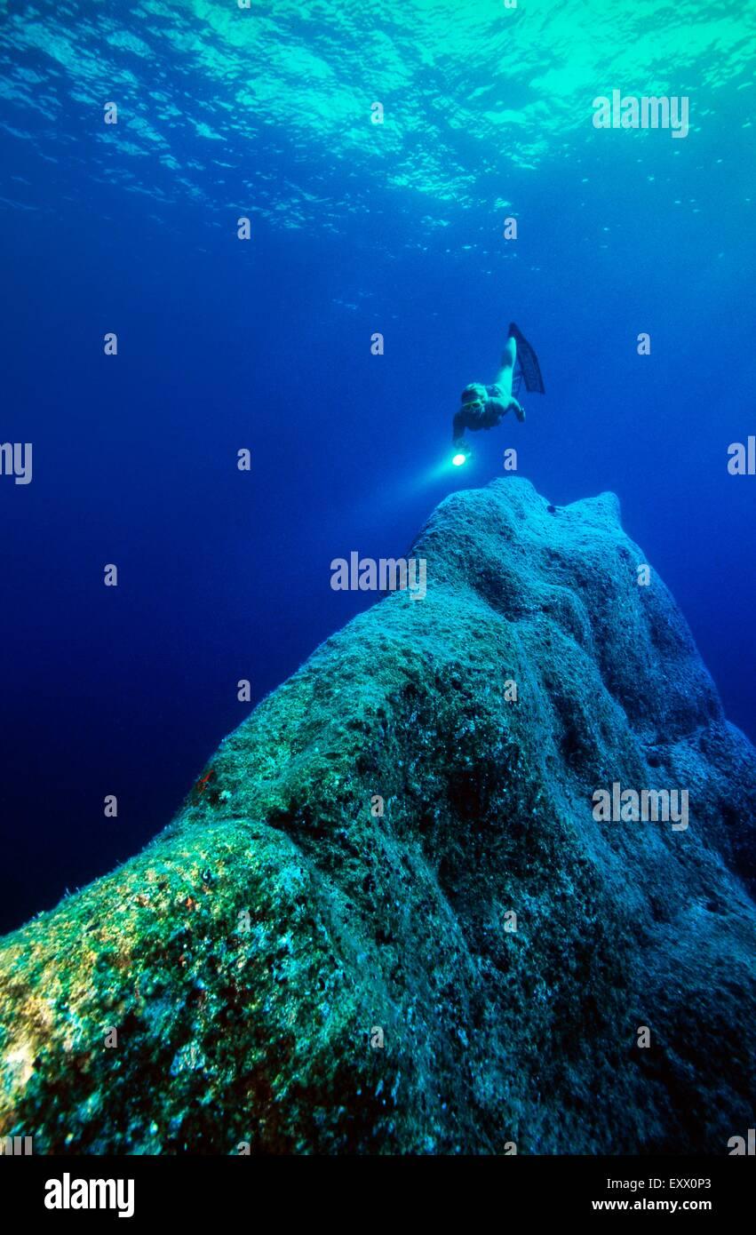 Female diver, Corfu, Paleokastritsa, Korfu, Greece, Europe - Stock Image