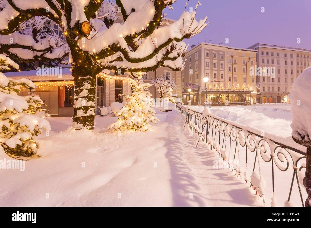 Alter Markt in winter, Salzburg, Austria, Europe - Stock Image