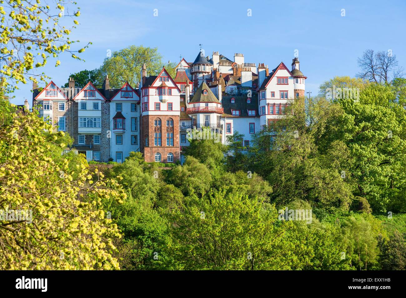 Houses, Princes Street Gardens, Edinburgh, Scotland, Europe - Stock Image