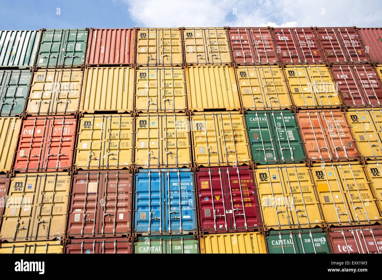 Containers stacked up in the port of Mariel near Havana, Cuba 16 July 2015. In Mariel there a special economic zone Stock Photo