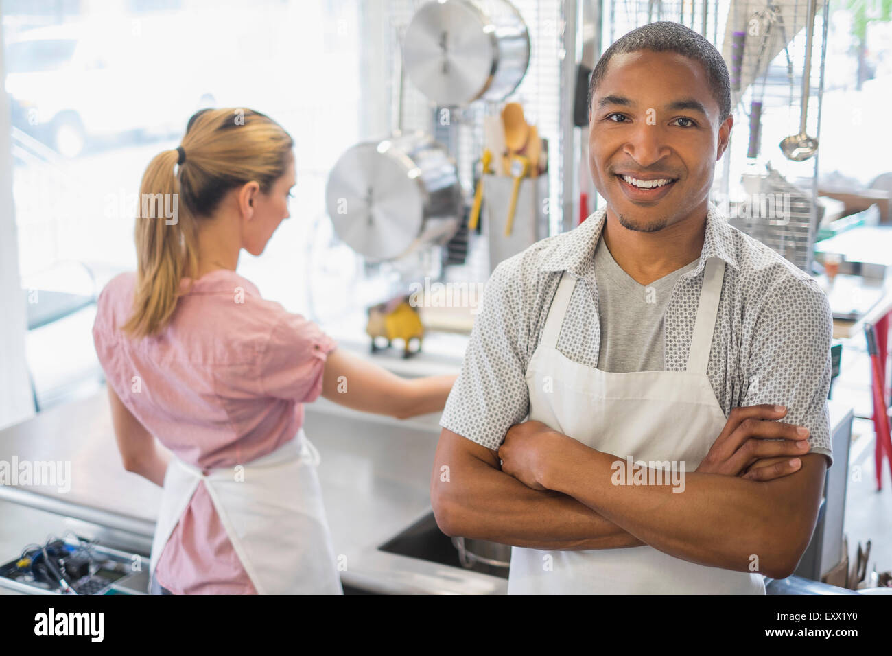 Portrait of bakery owner - Stock Image