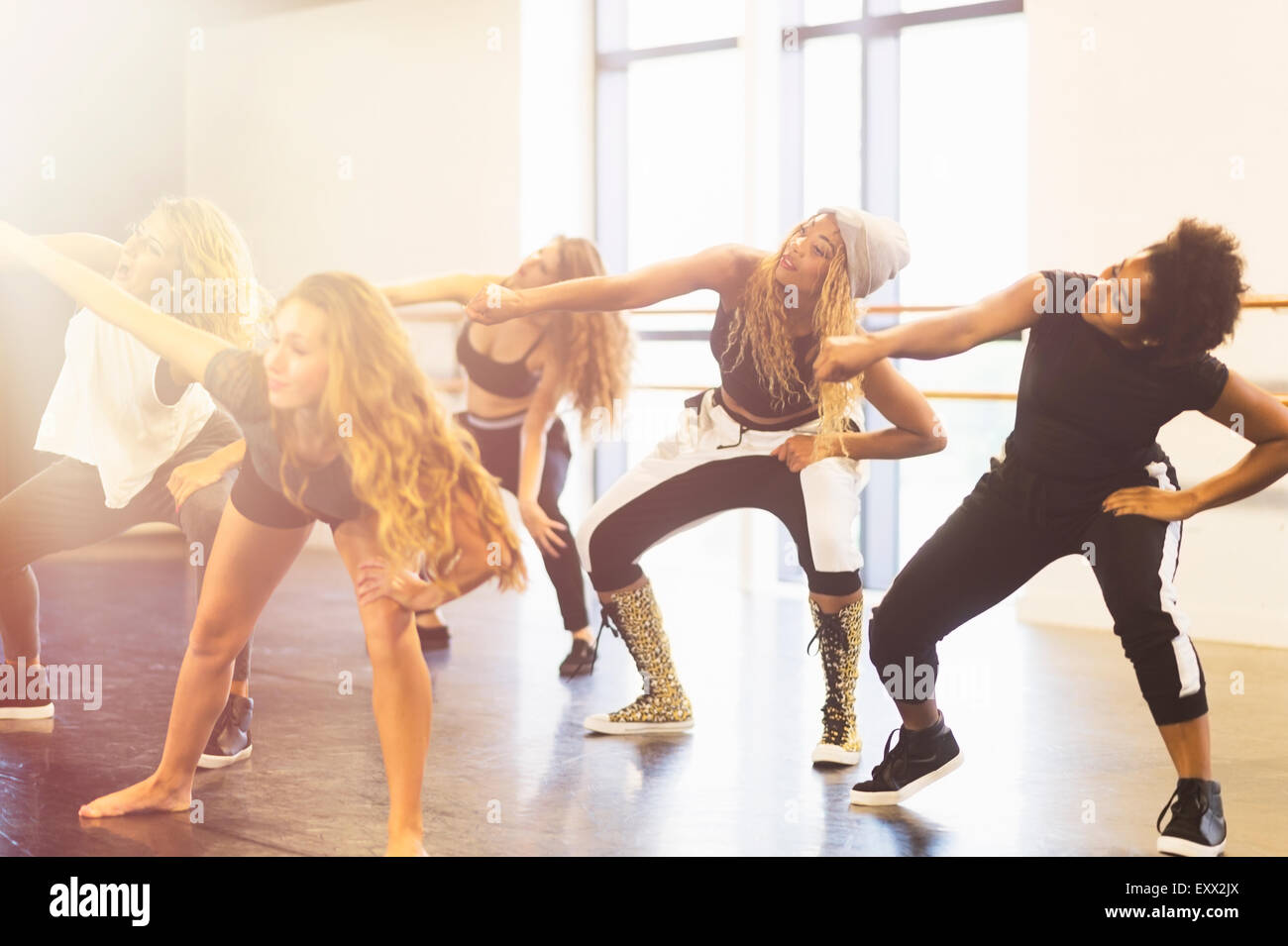 Young women dancing in dance studio Stock Photo