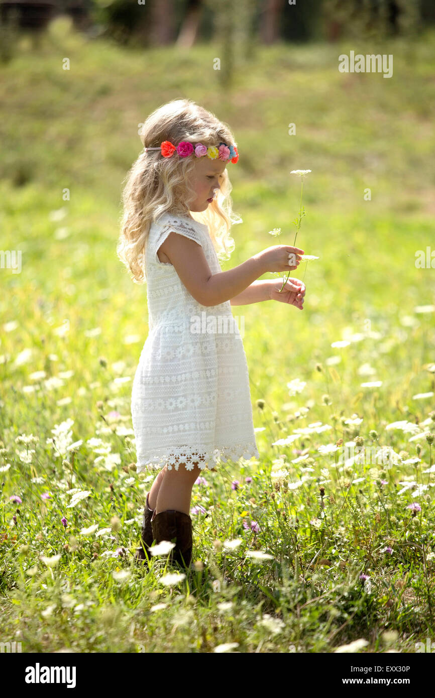 Cute girl (4-5) in white dress standing in meadow - Stock Image