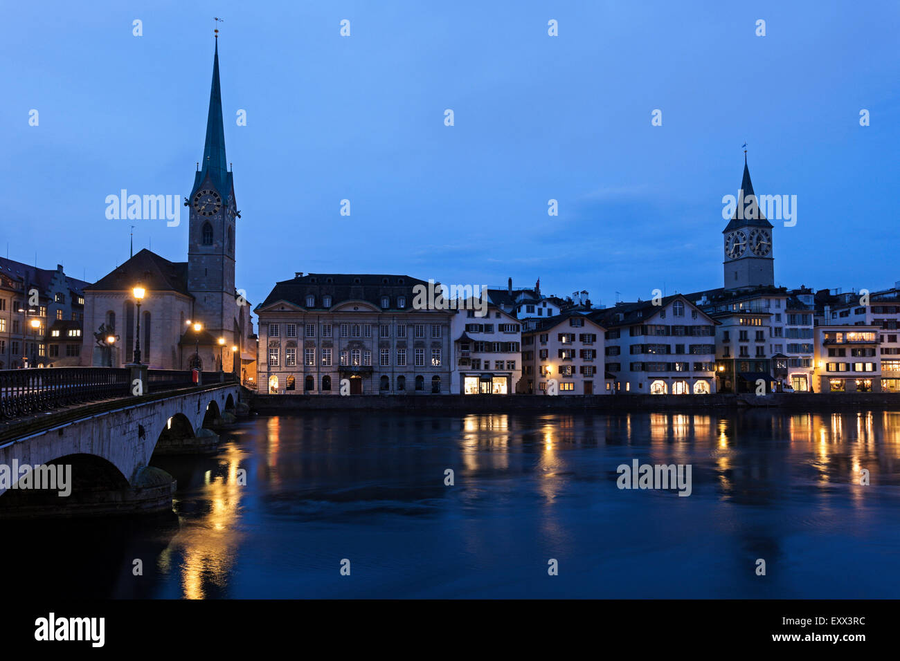 Fraumunster Church and St. Peter Church - Stock Image