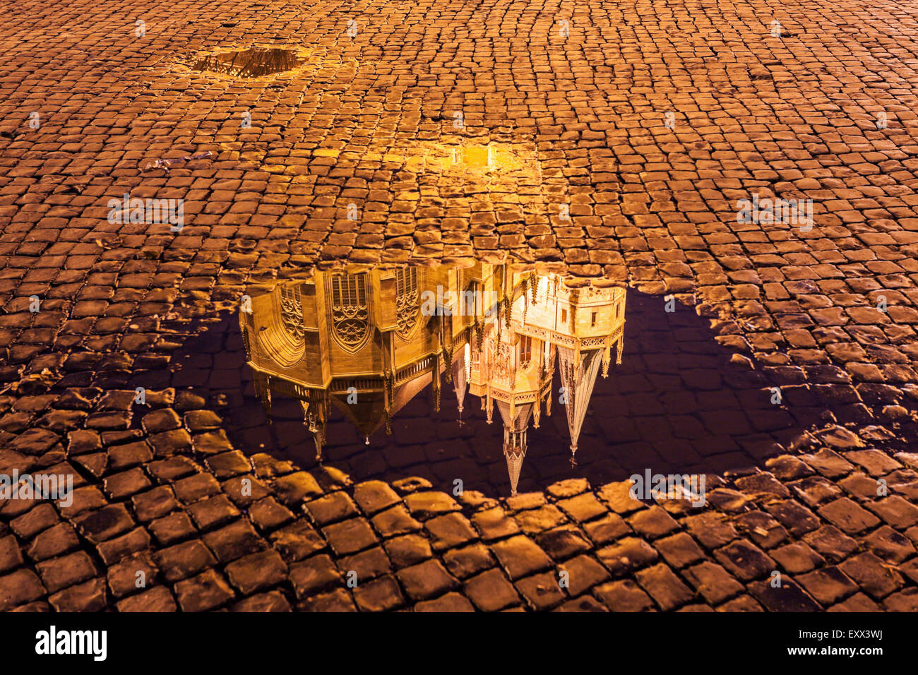 Reflection of Erfurt Cathedral in puddle - Stock Image