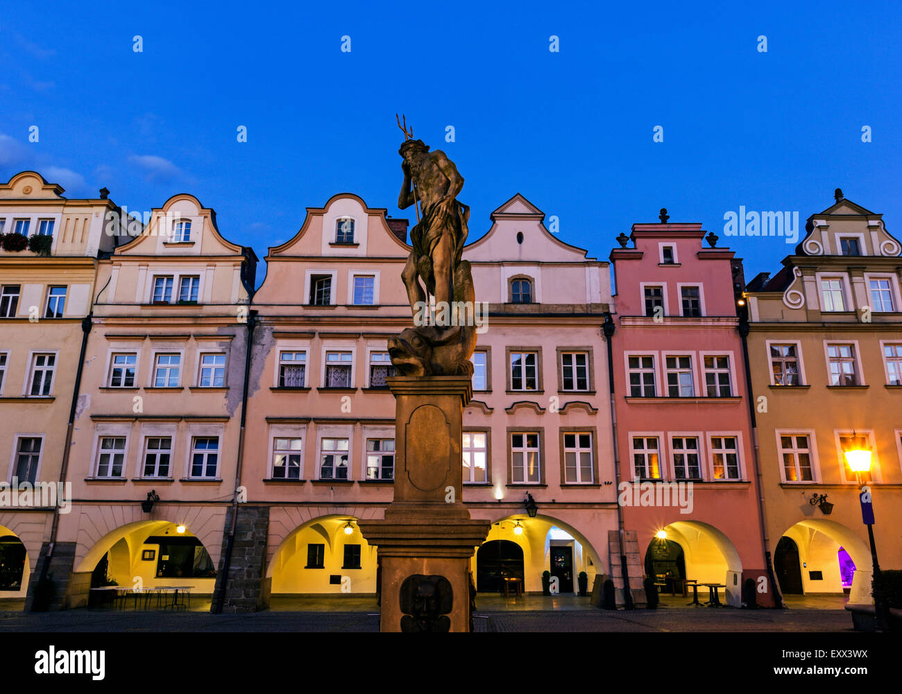 Statues and facades of old town houses - Stock Image