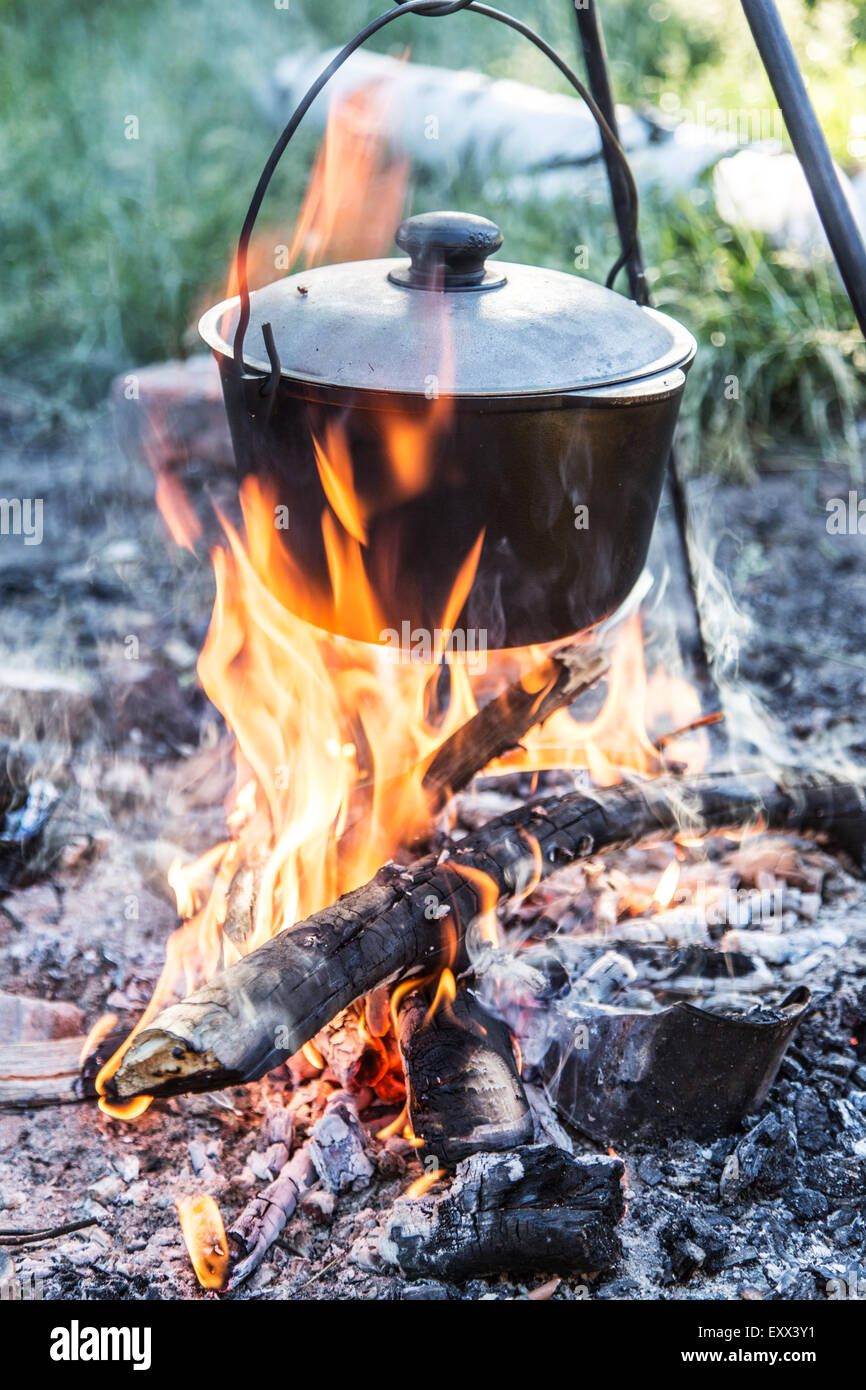 Cooking pot under the bonfire in the forest. - Stock Image