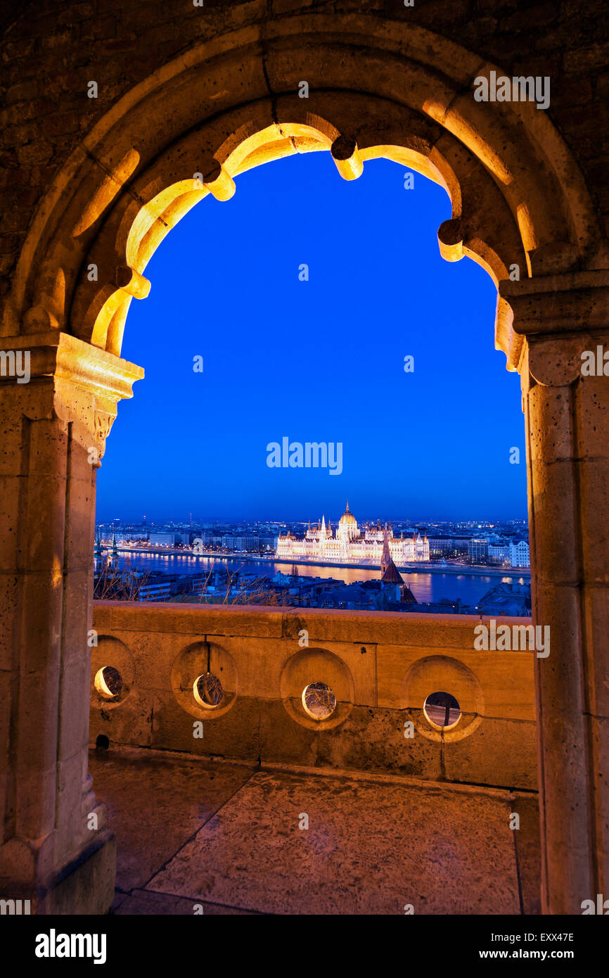 Hungarian Parliament seen through arch of Fisherman's Bastion Stock Photo