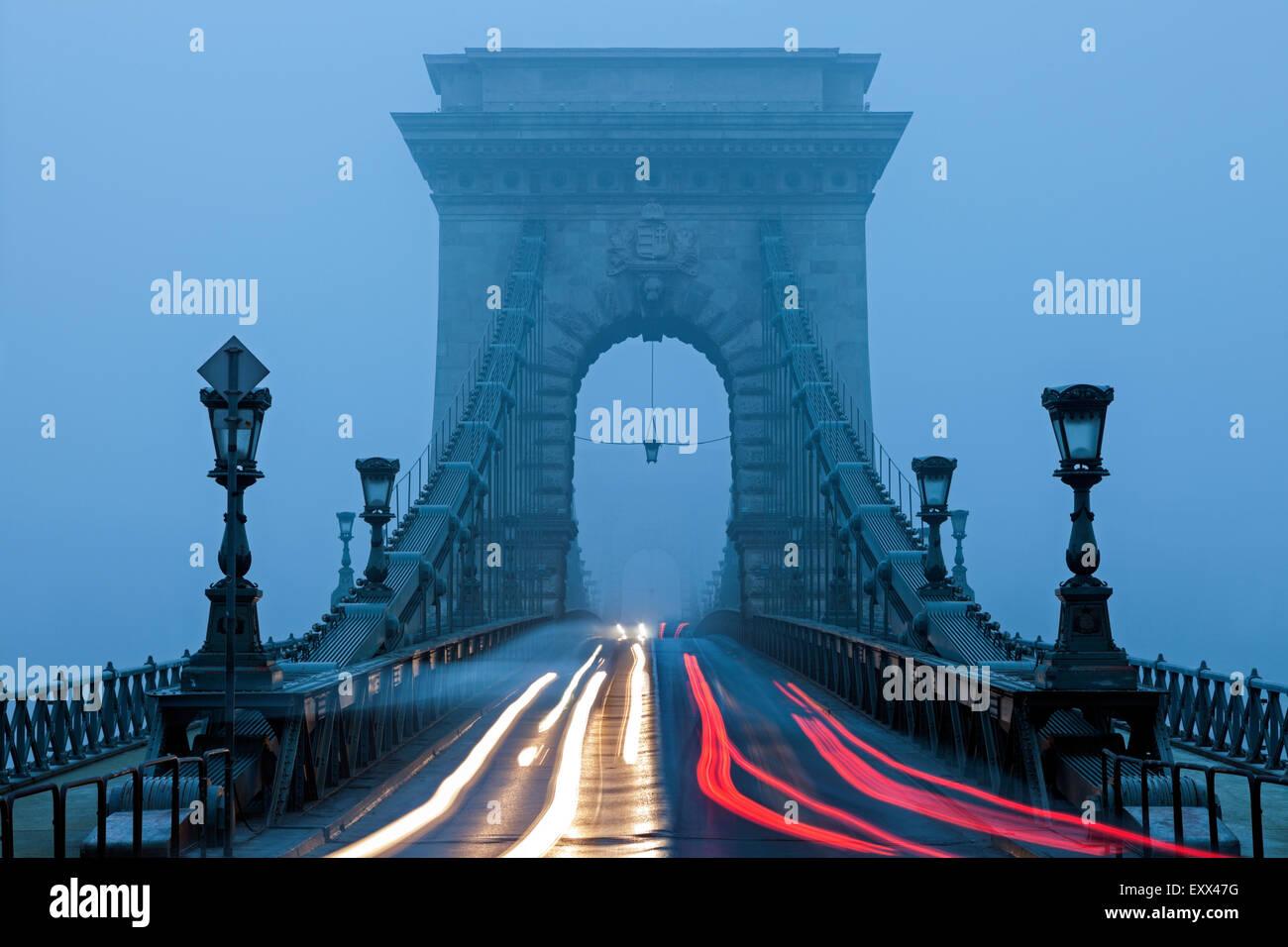 Light trails on Chain Bridge - Stock Image