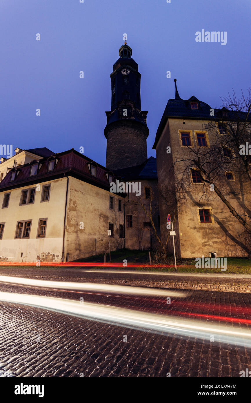 Light trails in old town - Stock Image