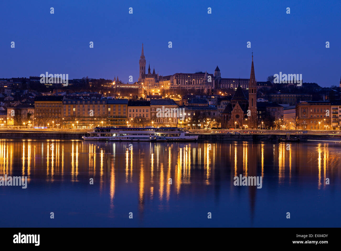 Buda skyline with Matthias Church and Fisherman's Bastion - Stock Image