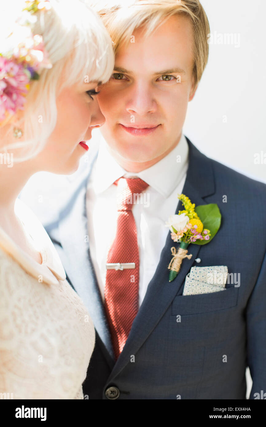 Portrait of newlywed couple - Stock Image