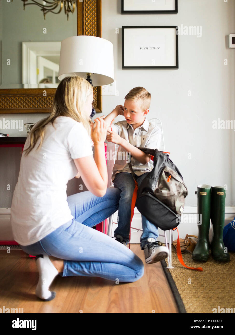 Mother talking with son (6-7) - Stock Image