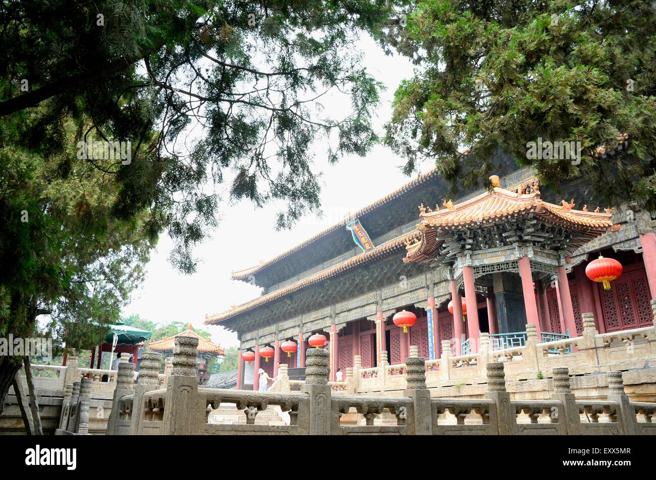 (150717) -- TAI'AN , July. 17, 2015 (Xinhua) --  Tourists appreciate Tiankuang Hall, the main structure of Dai - Stock Image