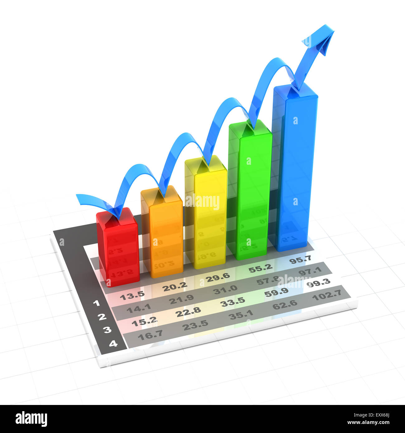 Growth chart with data, 3d render - Stock Image