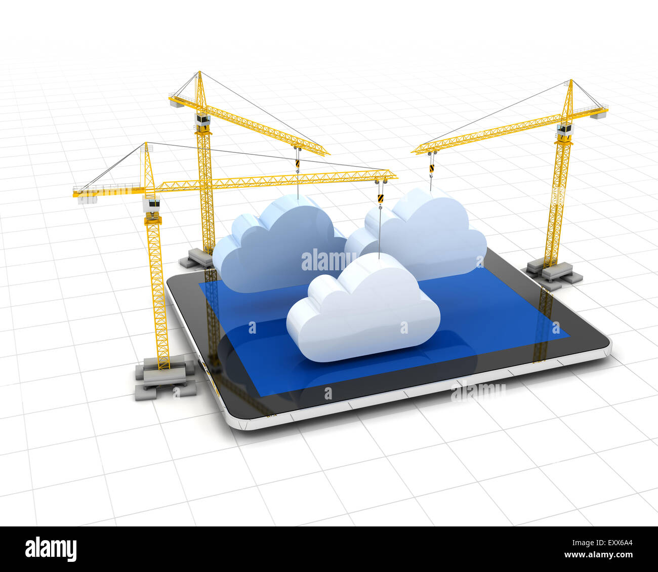 Setting up cloud storage - Stock Image