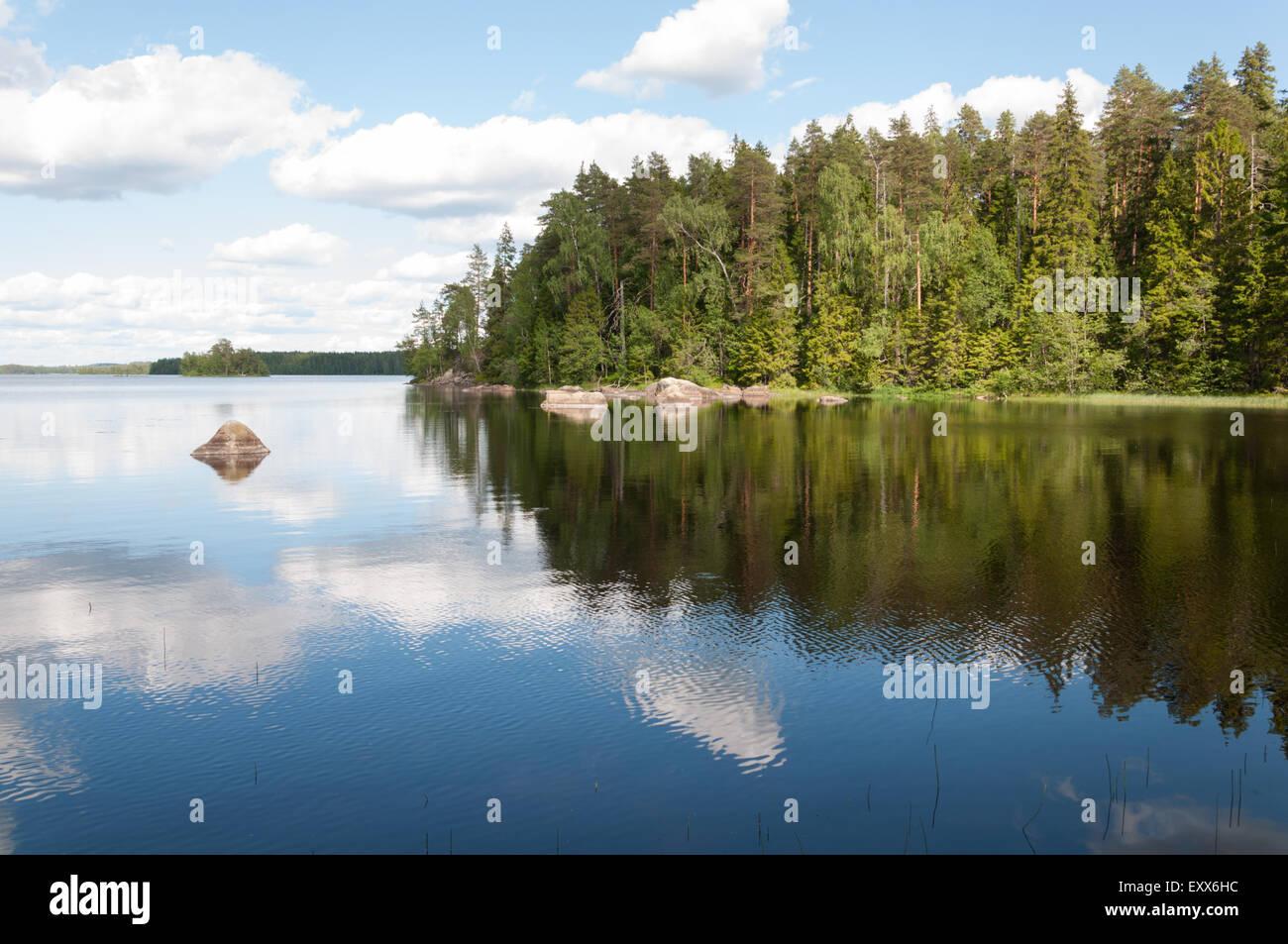 A summer view of Lake Liesjäri in Finland - Stock Image
