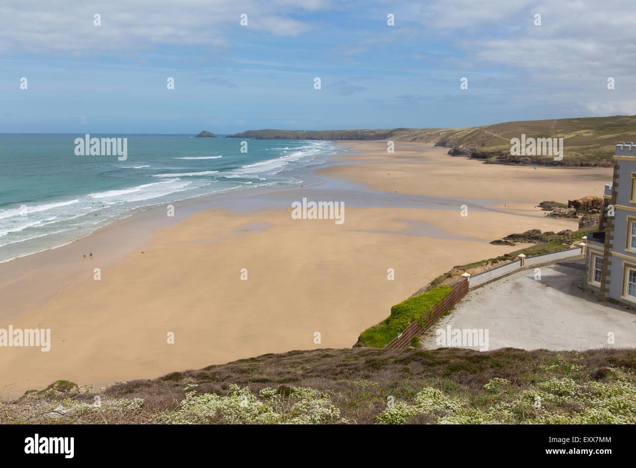 Perranporth beach Cornwall England UK one of the best Cornish surfing beaches - Stock Image