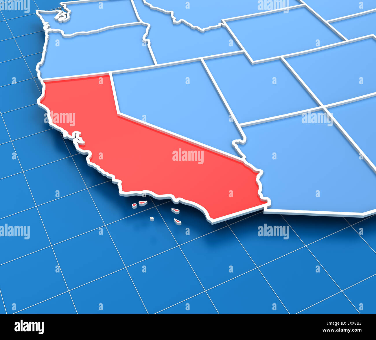 3d render of USA map with California state highlighted Stock Photo ...