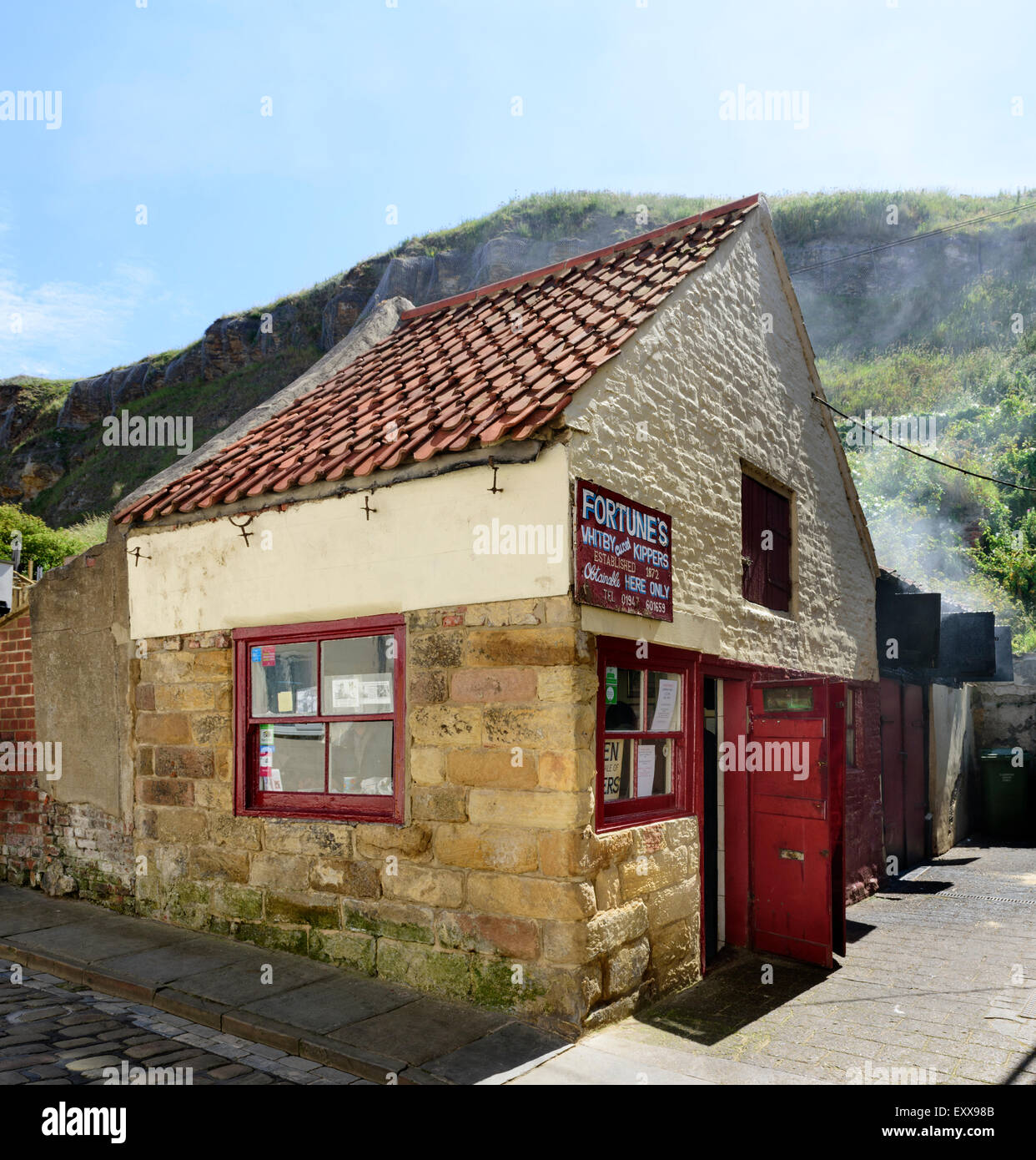 Fortunes Kipper Smokehouse in Whitby - Stock Image