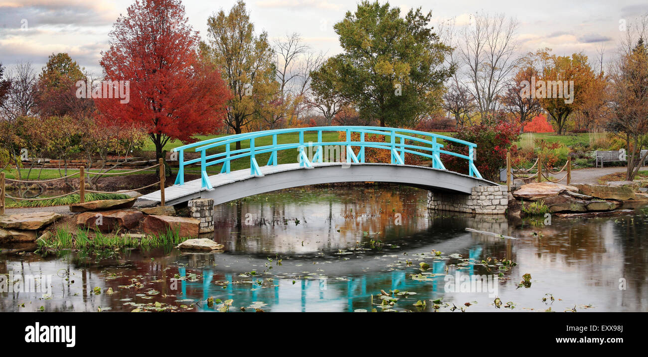 A Pastoral Scene Of A Japanese Foot Bridge Over A Quiet Little Pond On A Rainy Day In Autumn, Southwestern Ohio, Stock Photo