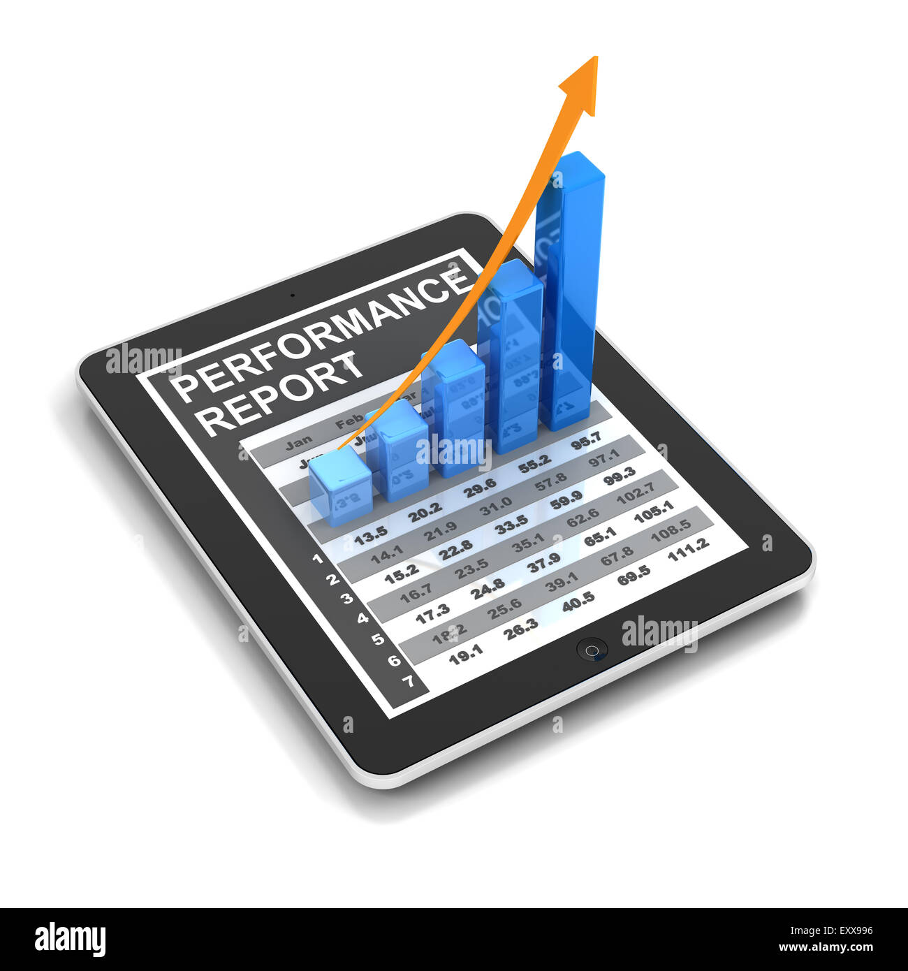 Digital tablet with rising chart - Stock Image