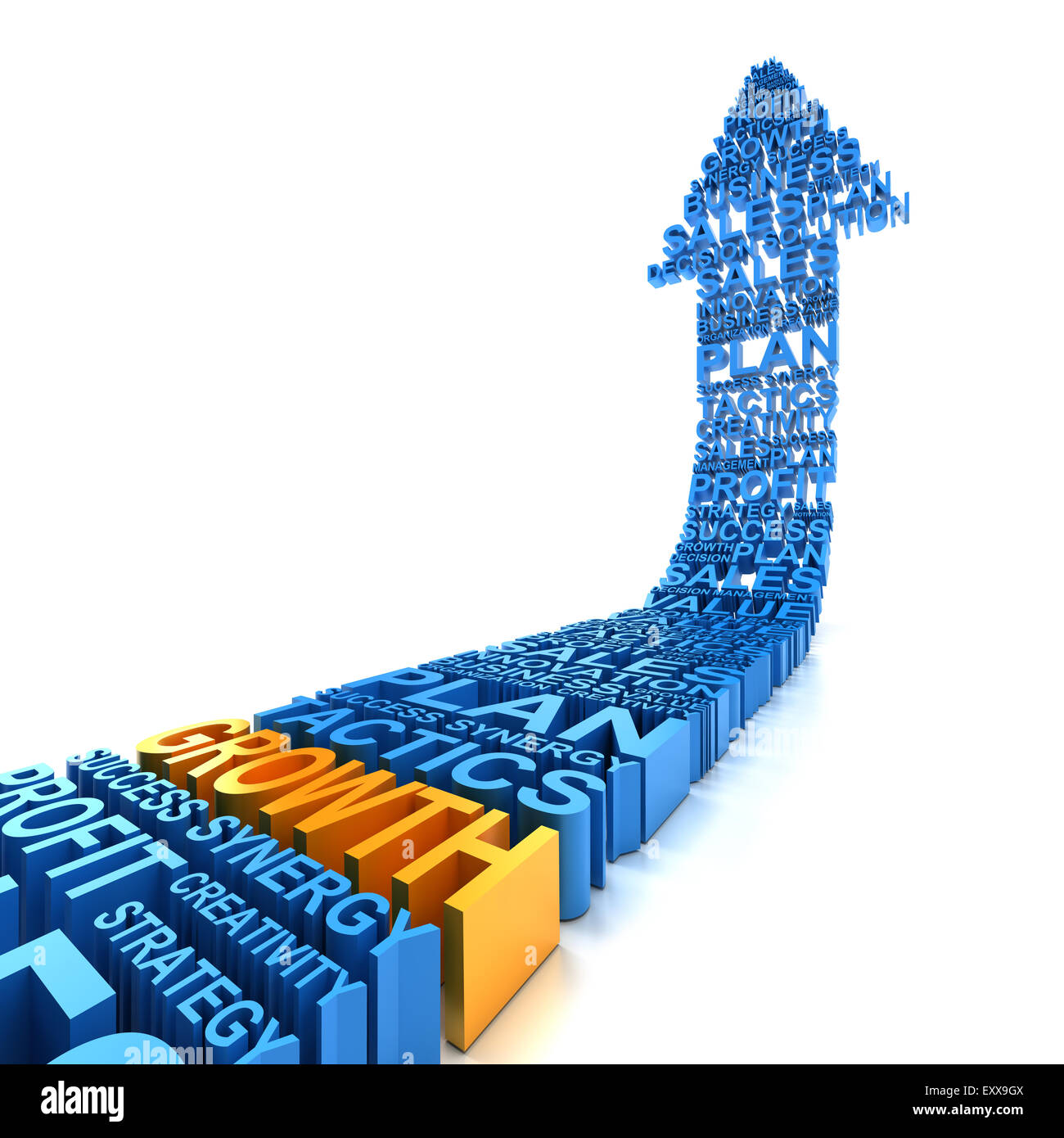 Business growth arrow, 3d render - Stock Image